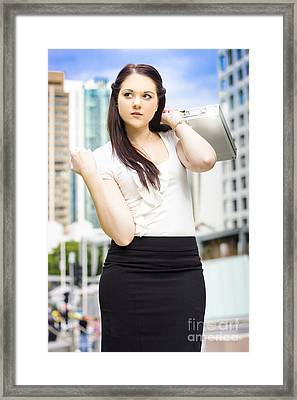 Professional City Lawyer Holding Silver Briefcase Framed Print by Jorgo Photography - Wall Art Gallery