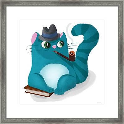 Professor Kitty Framed Print by Little Bunny Sunshine