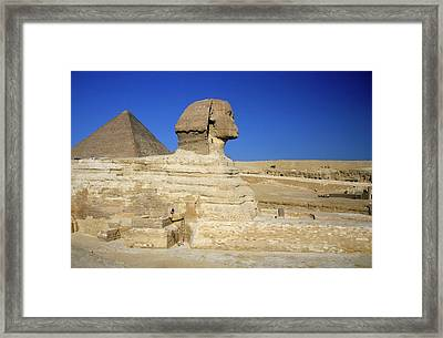 Profile Of The Great Sphinx With The Great Pyramid Of Giza In The Background Framed Print by Sami Sarkis