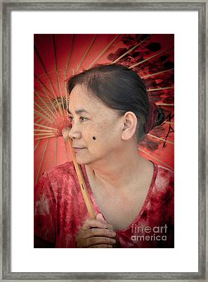 Profile Portrait Of A Freckle Faced Filipina With A Mole On Her Cheek  Framed Print