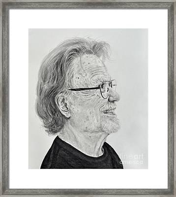 Profile Portrait Of Kris Kristofferson Framed Print by Jim Fitzpatrick