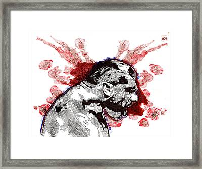 Profile With Fireworks Framed Print