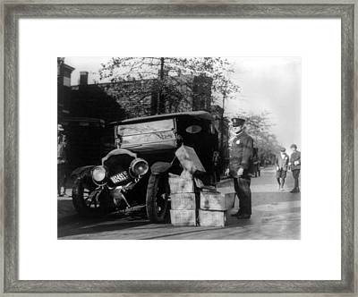 Prohibition, A Policeman Standing Framed Print by Everett