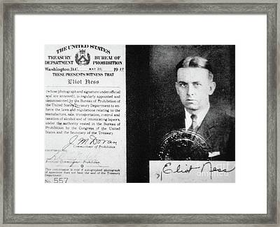 Prohibition Agent Id Card Of Eliot Ness Framed Print by American School