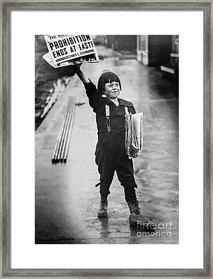 Prohibition Ends  Framed Print