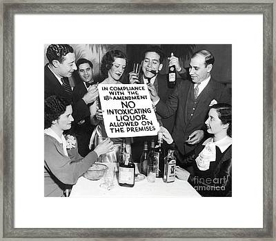 Prohibition Ends Let's Party Framed Print by Jon Neidert