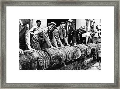 Prohibition Feds And Crew Dump Liquor Framed Print by Daniel Hagerman