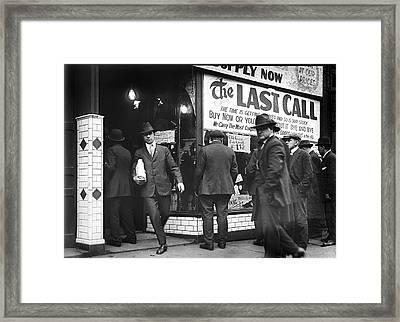 Prohibition Last Call - Detroit - 1919 Framed Print by Daniel Hagerman