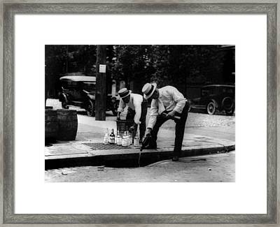 Prohibition, Pouring Whiskey Framed Print by Everett