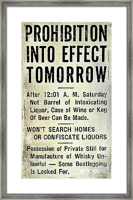 Prohibition Sign Framed Print by Jon Neidert
