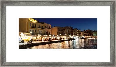 Promenade At Venetian Port, Chania Framed Print by Panoramic Images