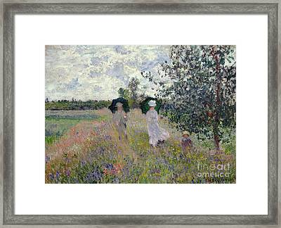 Promenade Near Argenteuil Framed Print by Claude Monet