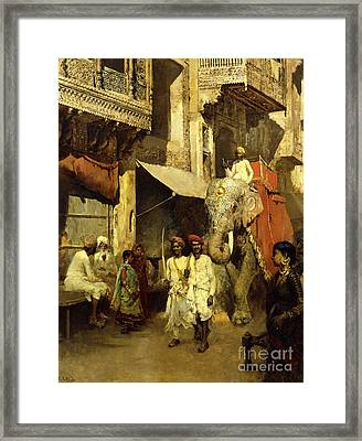Promenade On An Indian Street Framed Print by Edwin Lord Weeks