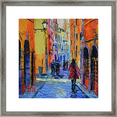 Promenade On Saint Georges Street Lyon Framed Print by Mona Edulesco