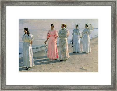 Promenade On The Beach Framed Print by Michael Peter Ancher