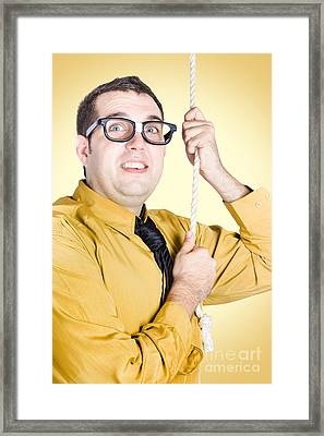 Promoted Employee Climbing Up Corporate Rope Framed Print by Jorgo Photography - Wall Art Gallery