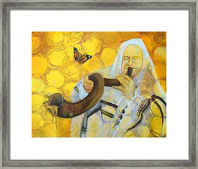 Prophetic Message Sketch Painting 9 Honey Dripping From The Shofar Framed Print by Anne Cameron Cutri