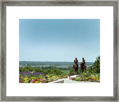 Prophets Last Ride  Bronze Monument Of Hyrum And Joseph Smith In Nauvoo Illinois Framed Print by Kim Corpany