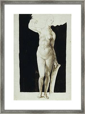 Proportion Study Of Female Nude With A Shield Framed Print by Albrecht Duerer