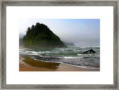 Proposal Rock At Neskowin Beach Framed Print