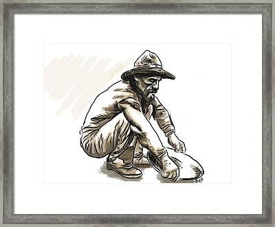 Framed Print featuring the drawing Prospector by Antonio Romero