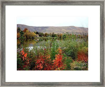 Prosser Autumn River With Hills Framed Print by Carol Groenen
