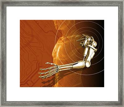 Prosthetic Robotic Arm, Computer Artwork Framed Print by Victor Habbick Visions