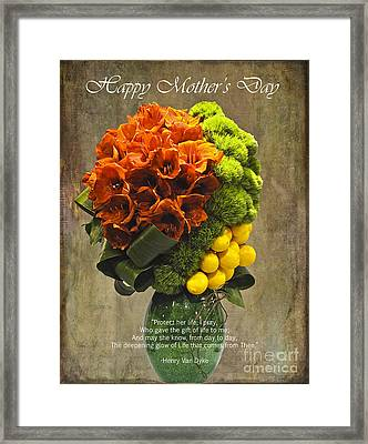 Protect Her Life Happy Mother's Day Card  Framed Print by Nina Silver