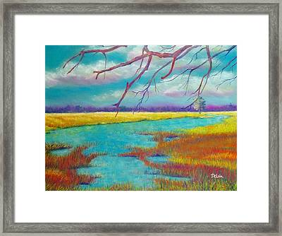 Framed Print featuring the painting Protect The Wetlands by Susan DeLain