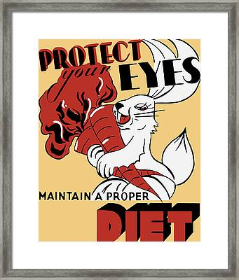 Protect Your Eyes - Maintain A Proper Diet Framed Print by War Is Hell Store