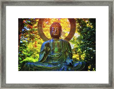 Protection Buddha #2 In Japanese Tea Garden At Golden Gate Park - San Francisco Framed Print by Jennifer Rondinelli Reilly - Fine Art Photography