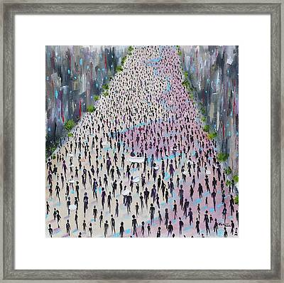 Framed Print featuring the painting Protesters by Judith Rhue