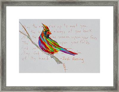 Proud Cardinal With Blessing Framed Print by Beverley Harper Tinsley