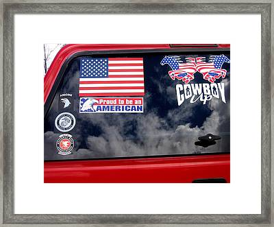 Proud To Be An American Decal Number 2 Car Window Tombstone Arizona 2004 Framed Print by David Lee Guss