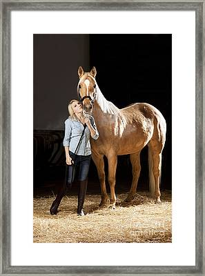 Proud Woman With Her Hungarian Warmblood Framed Print