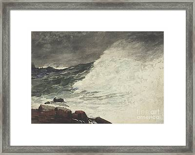 Prouts Neck Breaking Wave Framed Print by Winslow Homer