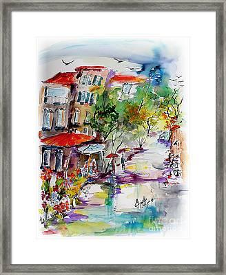 Provence Flower Market Summer Rain Framed Print by Ginette Callaway
