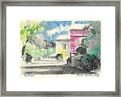 Framed Print featuring the painting Provence Landscape Village Cucuron by Martin Stankewitz