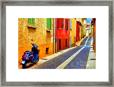 Provence Street With Scooter Framed Print by Olivier Le Queinec