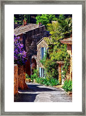 Provence Village Street In Spring Framed Print