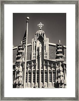 Providence College Harkins Detail Monochrome Framed Print by Nancy De Flon