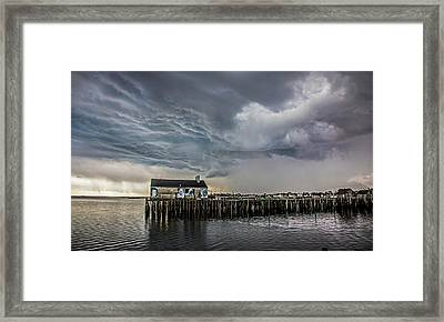 Framed Print featuring the photograph Provincetown Storm, Cabrals Wharf by Charles Harden
