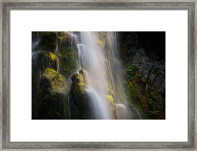 Proxy Falls Textures And Light Framed Print by Leland D Howard