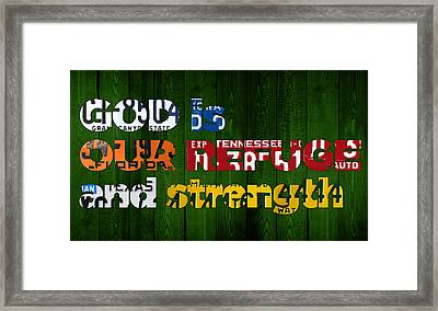 Psalm 46 1 God Is Our Refuge And Strength Bible Verse Recycled Vintage License Plate Art Framed Print