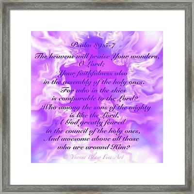 Psalm Eighty Nine Selected Verses Framed Print by Yvonne Blasy
