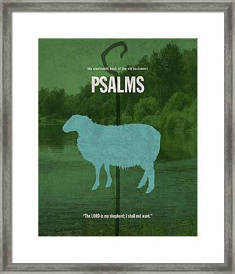 Psalms Books Of The Bible Series Old Testament Minimal Poster Art Number 19 Framed Print