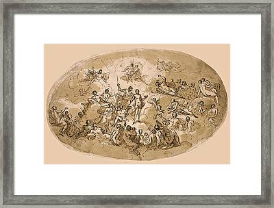 Psyche Amongst The Olympian Gods. A Ceiling Design For Stoke Edith House Herfordshire Framed Print
