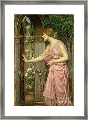 Psyche Entering Cupid's Garden Framed Print by John William Waterhouse