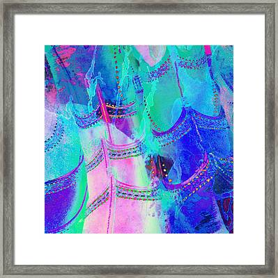 Psychedelic Blue Shoes Shopping Is Fun Abstract Square 4f Framed Print