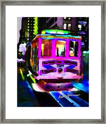 Psychedelic Cable Car Framed Print by Anthony Caruso